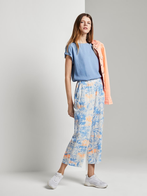 Fließende Culotte Hose mit Palmen-Print - Frauen - blue coral palmtree print - 3 - TOM TAILOR Denim