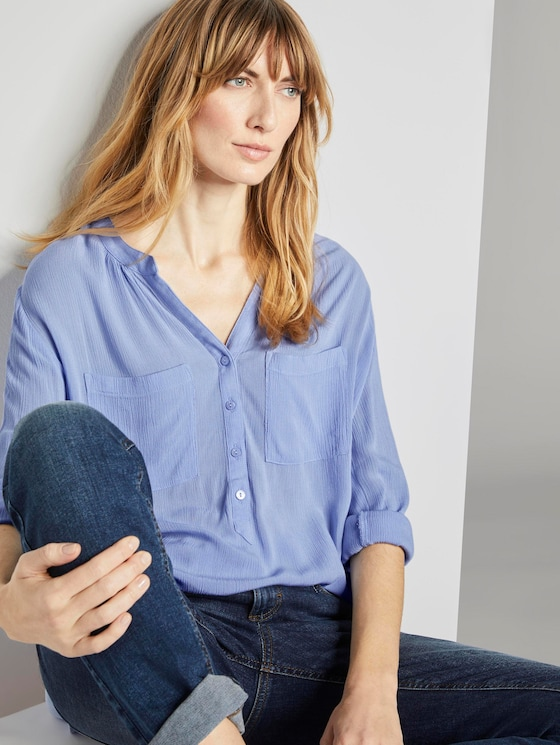 Bluse mit Raffung - Frauen - Parisienne Blue - 5 - TOM TAILOR