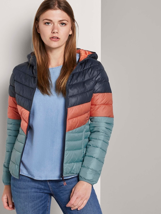 Leichte Steppjacke mit Kapuze - Frauen - blue coral colorblock - 5 - TOM TAILOR Denim