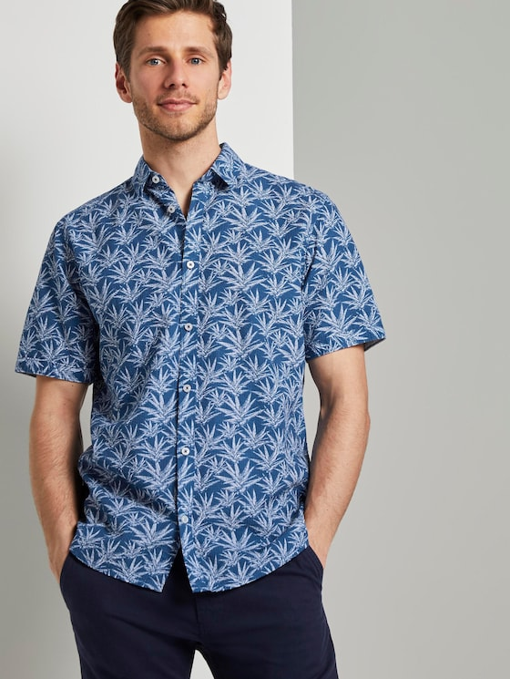 Patterned short-sleeved shirt - Men - navy white agave design - 5 - TOM TAILOR