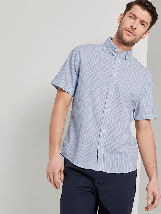 Short-sleeved shirt with a striped pattern - Men - blue turquoise stripe - 5 - TOM TAILOR