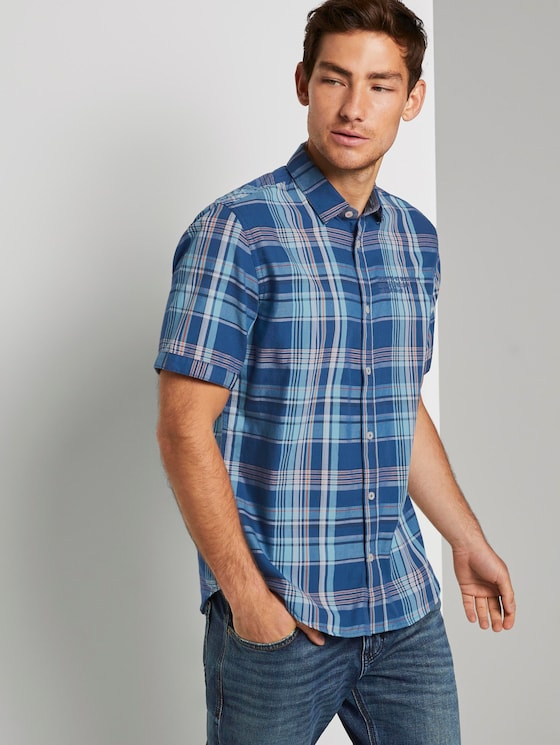 Checked shirt - Men - blue base turquoise check - 5 - TOM TAILOR