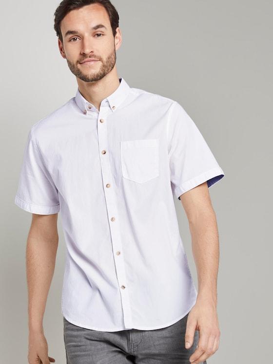 Schlichtes Kurzarm-Hemd mit Brusttasche - Männer - White - 5 - TOM TAILOR