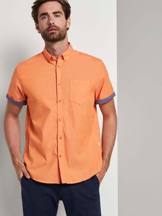 Schlichtes Kurzarm-Hemd mit Brusttasche - Männer - orange chambray - 5 - TOM TAILOR