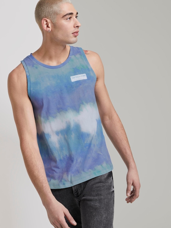 Tanktop mit Alloverprint - Männer - multicolor stripy batik print - 5 - TOM TAILOR Denim