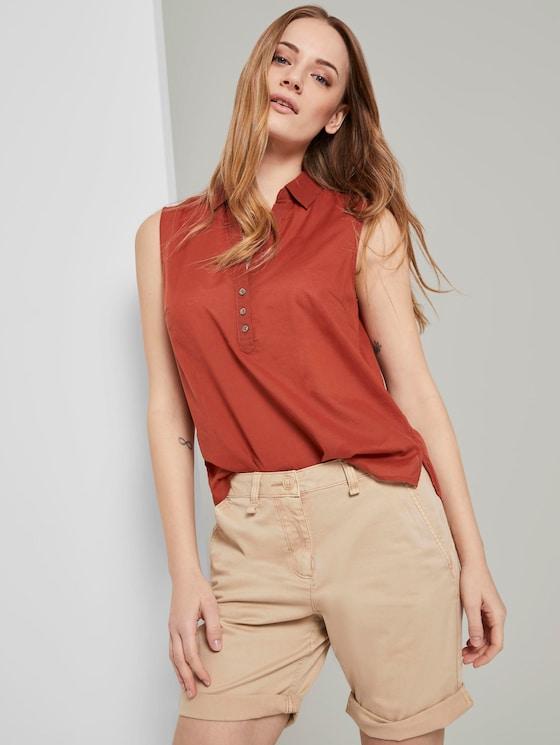 Sleeveless Henley blouse with side slits - Women - Goji Orange - 5 - TOM TAILOR
