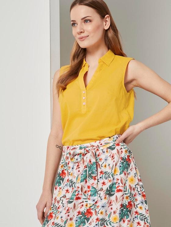 Ärmellose Henley-Bluse mit Seitenschlitzen - Frauen - deep golden yellow - 5 - TOM TAILOR