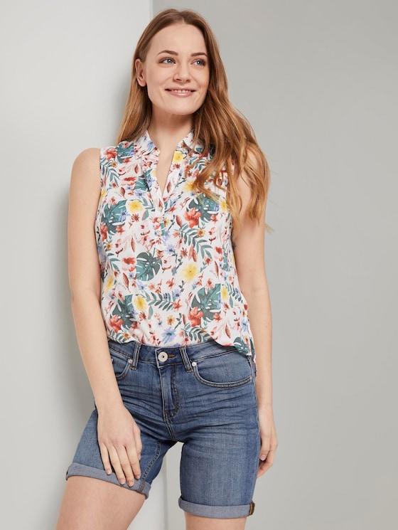 Ärmellose Henley-Bluse mit Seitenschlitzen - Frauen - white watercolor flower design - 5 - TOM TAILOR