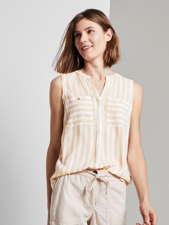 Ärmellose Henley-Bluse mit Streifenmusterung - Frauen - beige offwhite vertical stripe - 5 - TOM TAILOR