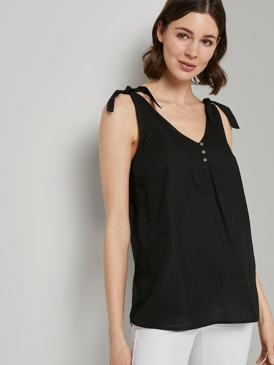 Blouse top with knotted details and buttons - Women - Deep Black - 5 - TOM TAILOR