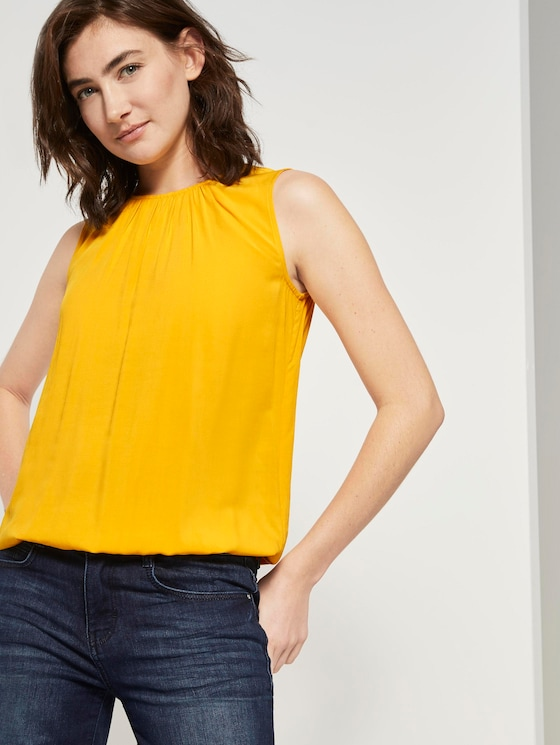 Blouse top with an elastic waistband - Women - deep golden yellow - 5 - TOM TAILOR