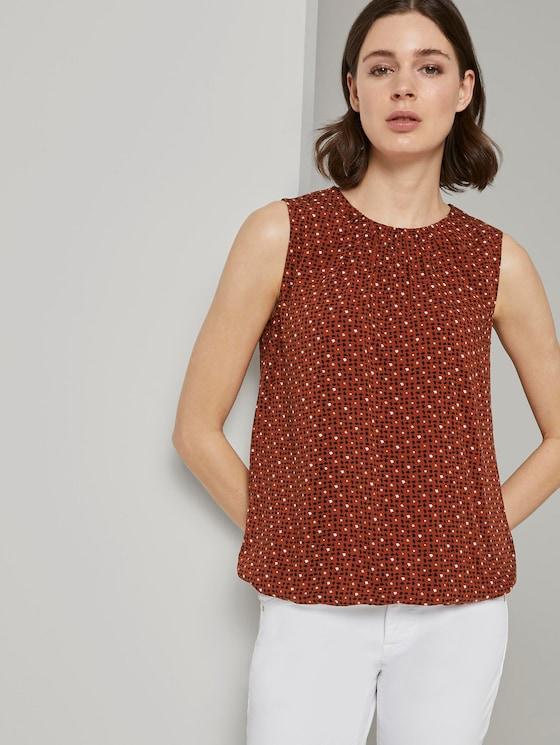 Blusen-Top mit elastischem Bund - Frauen - brown geometric design - 5 - TOM TAILOR