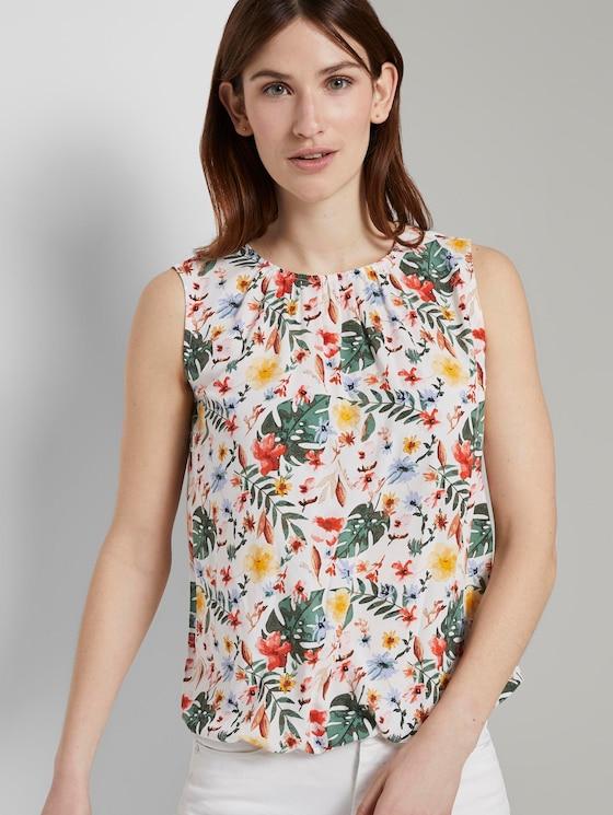 Blusen-Top mit elastischem Bund - Frauen - white watercolor flower design - 5 - TOM TAILOR