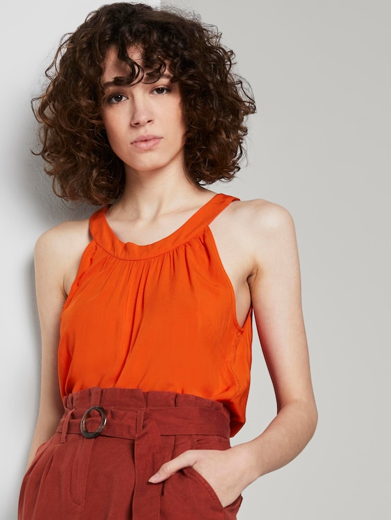 Blouse with a halter collar - Women - strong flame orange - 5 - TOM TAILOR