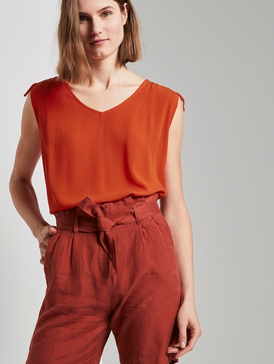 Ärmellose Bluse mit Schulterdetail - Frauen - strong flame orange - 5 - TOM TAILOR