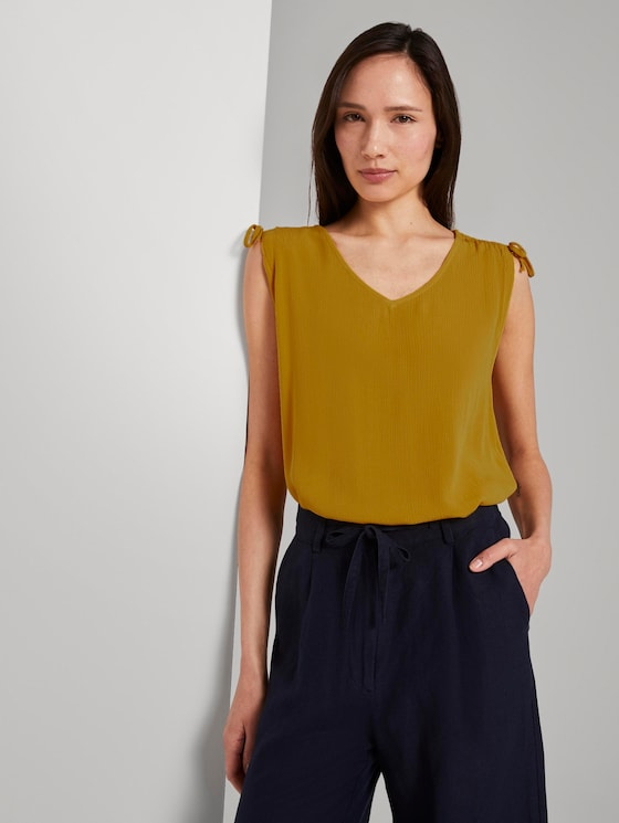 Ärmellose Bluse mit Schulterdetail - Frauen - deep golden yellow - 5 - TOM TAILOR