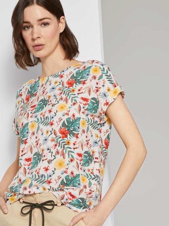Gemusterte Kurzarm-Bluse mit Rückendetail - Frauen - white watercolor flower design - 5 - TOM TAILOR