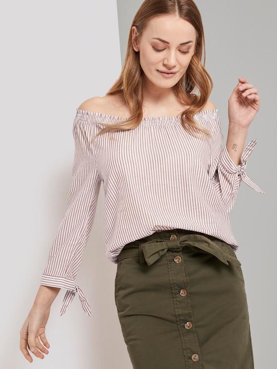 Schulterfreie Carmen-Bluse mit Knotendetail - Frauen - brown white vertical stripe - 5 - TOM TAILOR