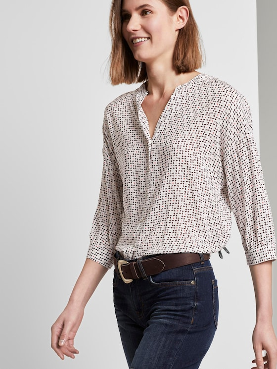 Patterned blouse in a loose fit - Women - white geometric design - 5 - TOM TAILOR