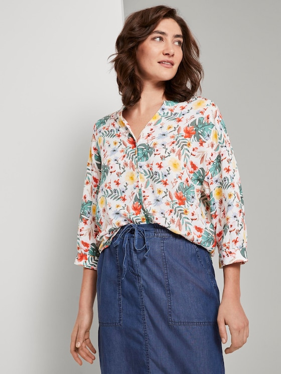 Gemusterte Bluse im Loose Fit - Frauen - white watercolor flower design - 5 - TOM TAILOR