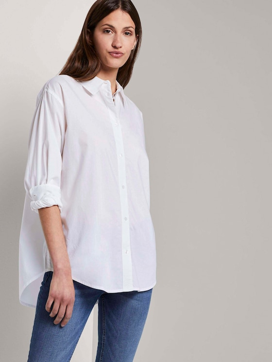 Simple blouse in a loose fit - Women - White - 5 - TOM TAILOR