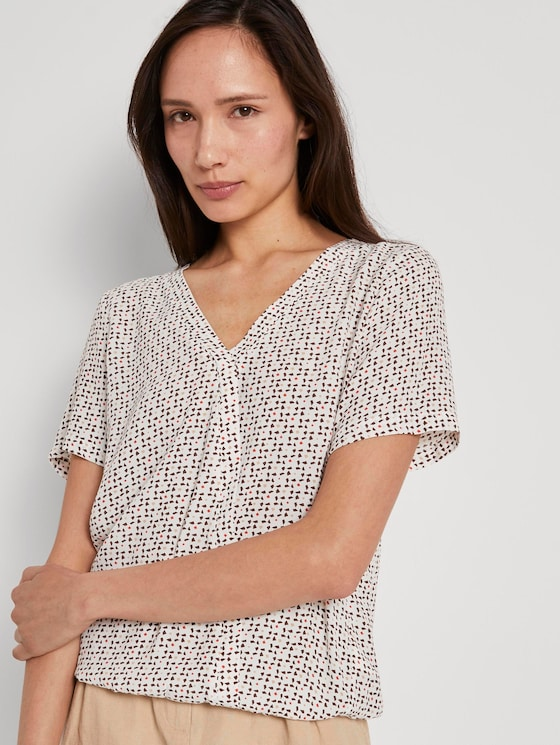 Patterned short-sleeved blouse in a wrap look - Women - white geometric design - 5 - TOM TAILOR