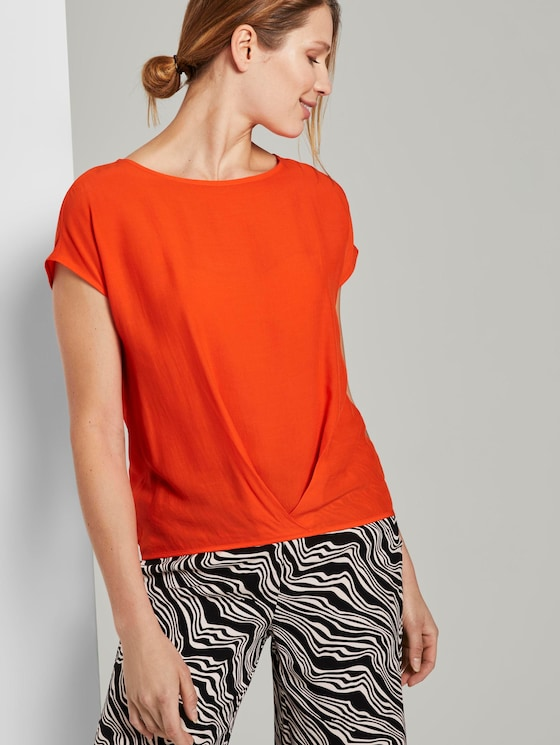 Blouse top with pleated details - Women - strong flame orange - 5 - TOM TAILOR