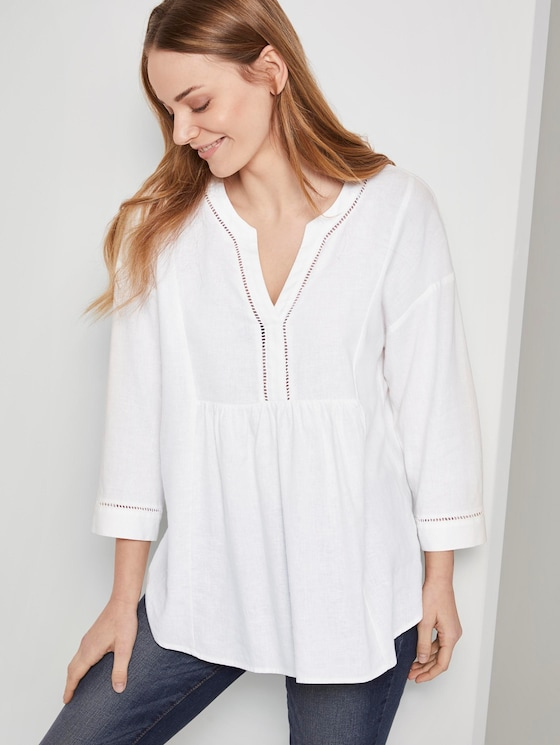 Linen-blend tunic blouse - Women - White - 5 - TOM TAILOR