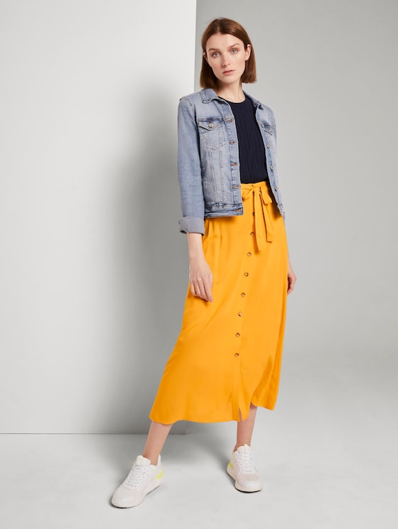 Maxi skirt with a button tab - Women - orange yellow - 3 - TOM TAILOR Denim