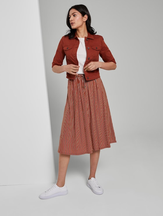 Striped jersey skirt in midi length - Women - brown white stripe - 3 - TOM TAILOR