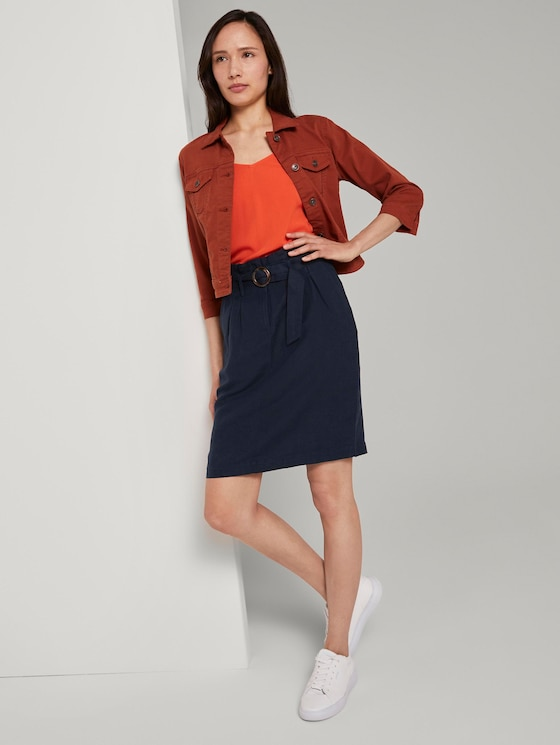 High-waisted paperbag skirt with a belt - Women - Sky Captain Blue - 3 - TOM TAILOR