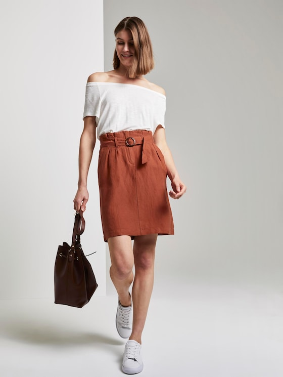 High-Waist Paperbag-Rock mit Gürtel - Frauen - Goji Orange - 3 - TOM TAILOR