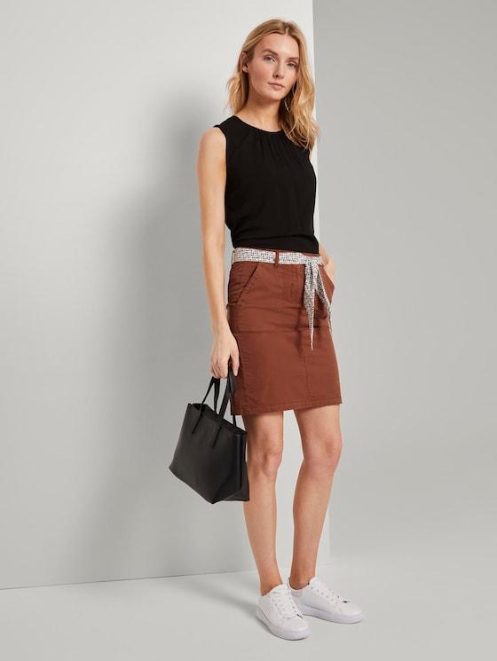 Skirt with a patterned tie belt - Women - Goji Orange - 3 - TOM TAILOR