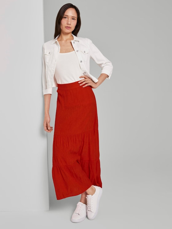 High-waisted maxi skirt with flounce - Women - strong flame orange - 3 - TOM TAILOR