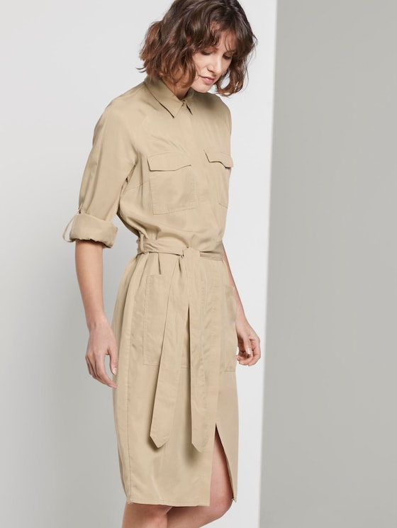 Kleid mit Bindegürtel - Frauen - cream toffee - 5 - TOM TAILOR