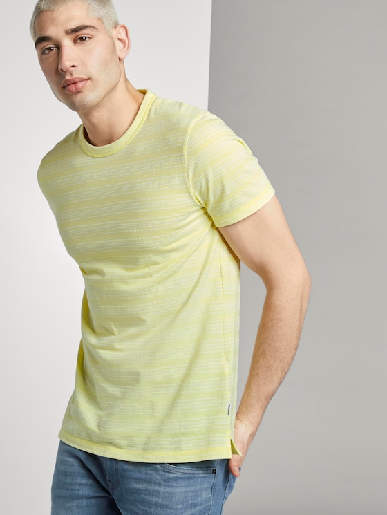 T-Shirt mit Streifenstruktur - Männer - canary light mixed structure - 5 - TOM TAILOR Denim