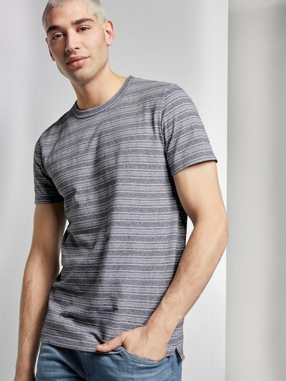 T-Shirt mit Streifenstruktur - Männer - navy mixed structure - 5 - TOM TAILOR Denim