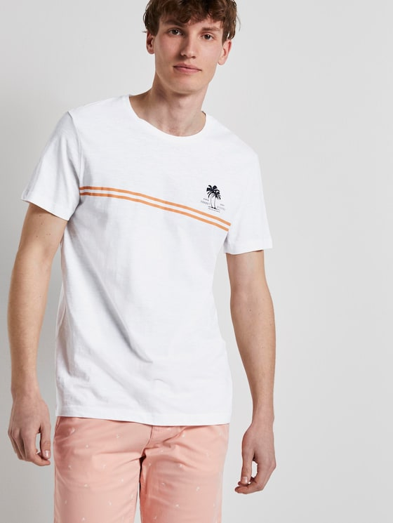 Sommerliches T-Shirt mit Print - Männer - White - 5 - TOM TAILOR Denim