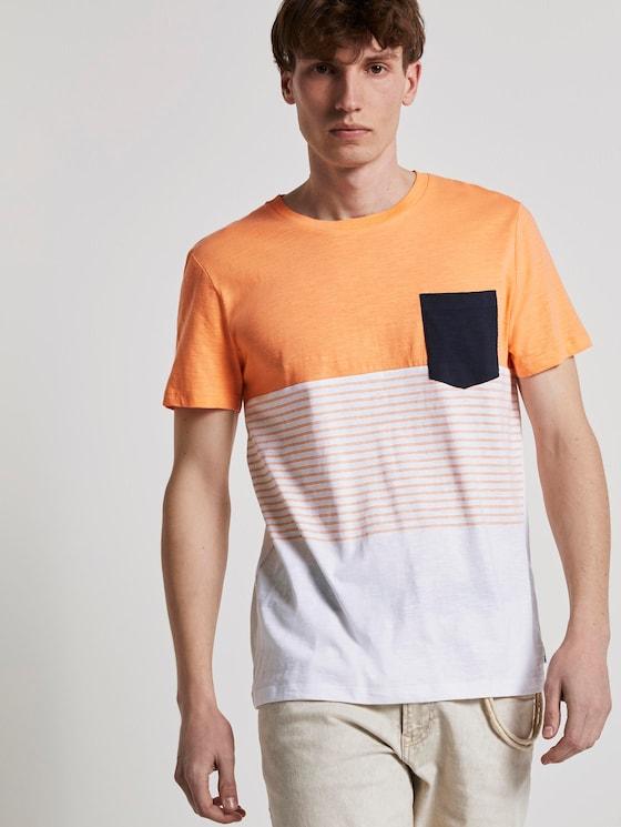 T-Shirt mit Blockstreifenmuster und Brusttasche - Männer - summer peach orange - 5 - TOM TAILOR Denim