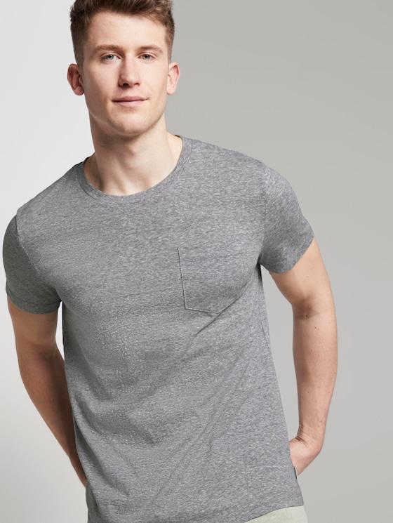 Basic T-Shirt mit Streifenstruktur - Männer - Dark Blue Stripe - 5 - TOM TAILOR Denim