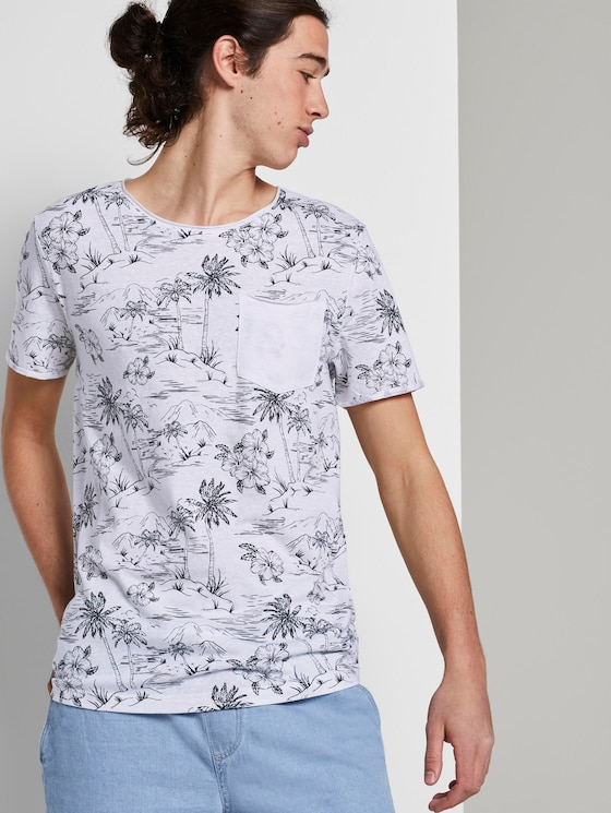 T-shirt with allover print and breast pocket - Men - white navy hawaiian print - 5 - TOM TAILOR Denim