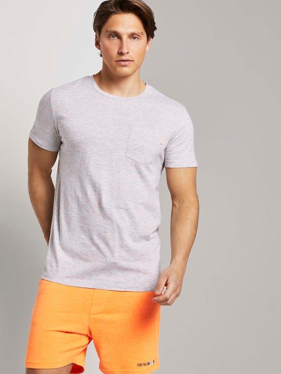 Strukturiertes T-Shirt - Männer - grey multi slub yd stripe - 5 - TOM TAILOR Denim