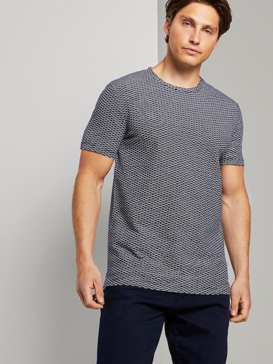 Strukturiertes T-Shirt mit Seitenschlitzen - Männer - navy jacquard block stripe - 5 - TOM TAILOR Denim