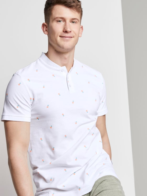 Poloshirt mit Ananas-Print und Mao-Kragen - Männer - white multi pineapple print - 5 - TOM TAILOR Denim