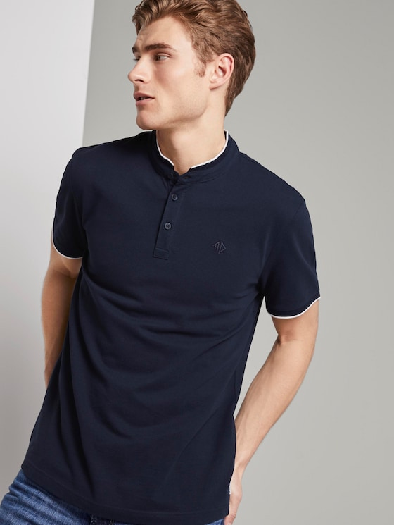 Polo shirt with a short collar and small embroidery - Men - Sky Captain Blue - 5 - TOM TAILOR Denim