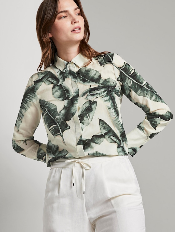 Bluse mit Palmenprint aus Lyocell - Frauen - ecru tropical leaves design - 5 - Mine to five
