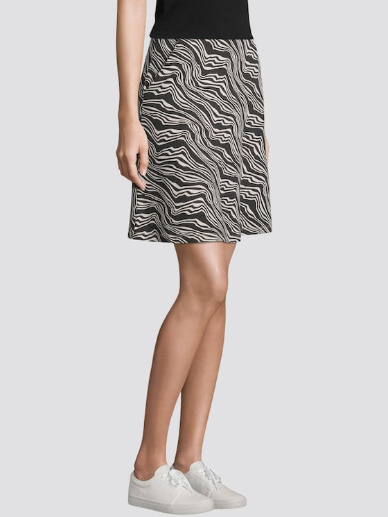 A-line skirt with pockets - Women - black wavy design - 5 - TOM TAILOR
