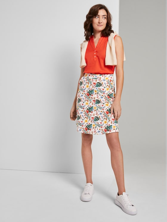 A-line skirt with pockets - Women - white watercolor flower design - 3 - TOM TAILOR