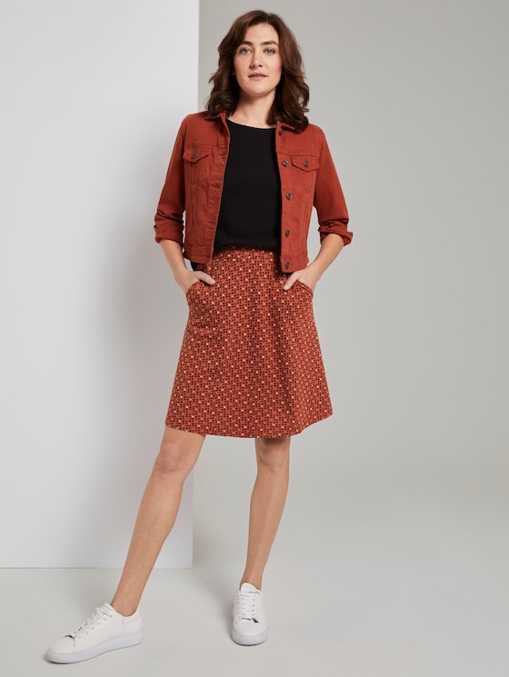 A-line skirt with pockets - Women - brown geometric design - 3 - TOM TAILOR