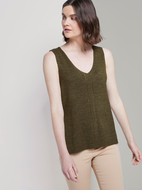 Knitted top with short side slits - Women - Woodland Green - 5 - TOM TAILOR